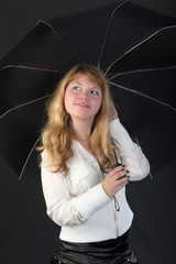 blond with a black umbrella