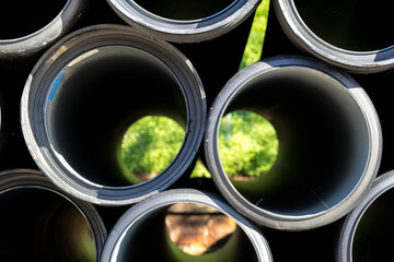 black sewer pipes