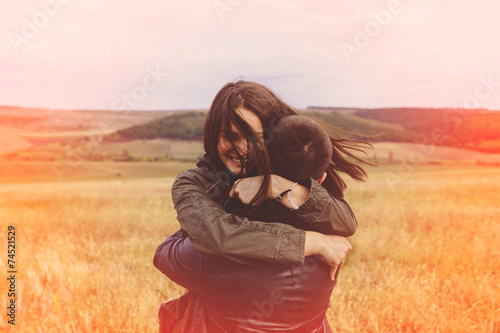 Landscape portrait of young beautiful stylish couple sensual and - 74521529