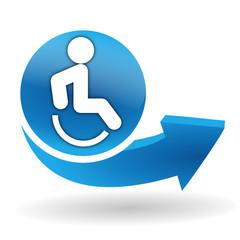 accessibilité aux personnes handicapées sur bouton web bleu