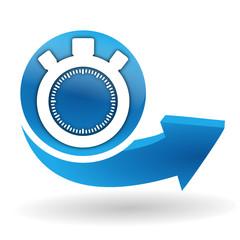 chronomètre sur bouton web bleu