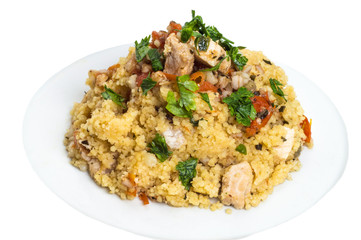 Couscous grain dish with swordfish