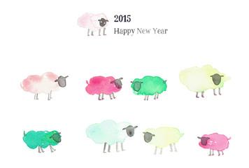 2015年羊年賀状テンプレート