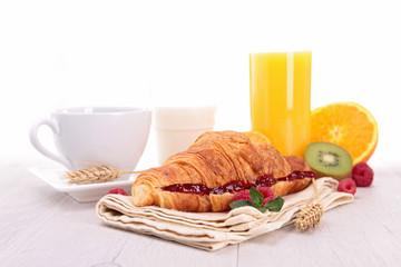 croissant,coffee and orange juice