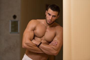 Beautiful Muscular Man After Bath