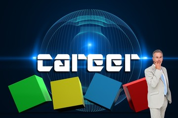 Career against futuristic glowing black background
