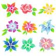 Beautiful flowers icon set.