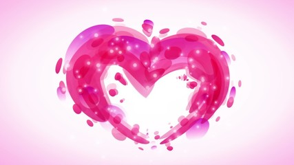Abstract pink romantic background with heart and lights fractal