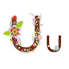 Alphabet Flower Font Design Vector