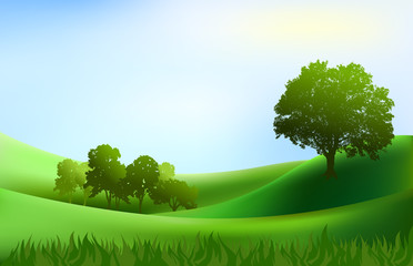 landscape trees hills background illustration