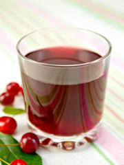 Compote cherry in glass on fabric