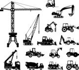 Set of heavy construction machines silhouette icons - 74524500