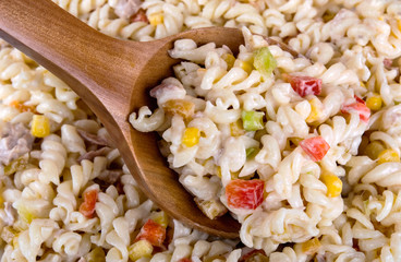 pasta salad with tuna corn tomatoes and pepper close up