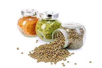 Lentil different in three jars on row