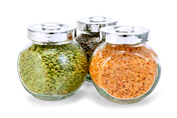 Lentil different in three jars