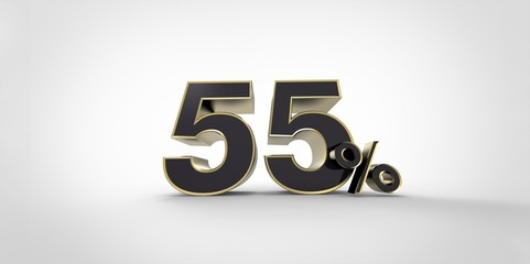 3D rendering of a black and gold 55 percent letters