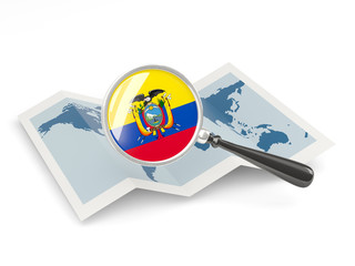 Magnified flag of ecuador with map