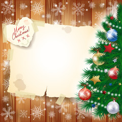 Christmas background with tree and copy space
