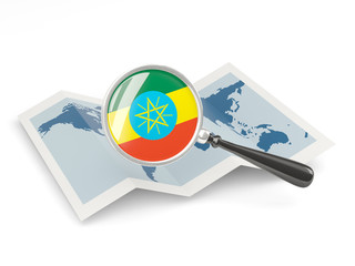 Magnified flag of ethiopia with map