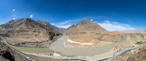 Where the Zanskar and Indus rivers meet in Ladakh, India