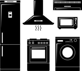 Household electronic appliances in flat silhouette style