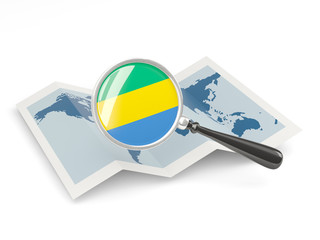 Magnified flag of gabon with map