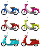 Fototapety Six colourful scooters