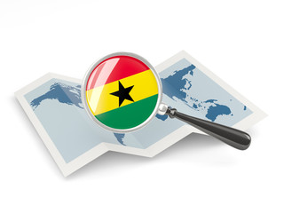 Magnified flag of ghana with map