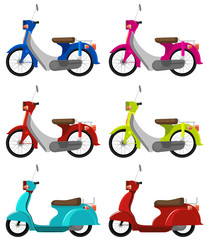 Six colourful scooters