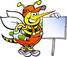 Vector illustration of an Happy Working Bee Holding a Sign