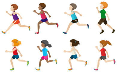 Faceless kids running