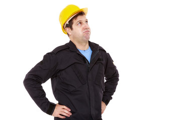 engineer constructor looks up and sighs