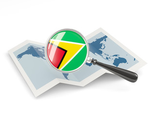 Magnified flag of guyana with map
