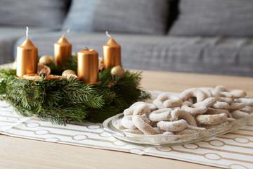 Christmas vanilla rolls with sugar