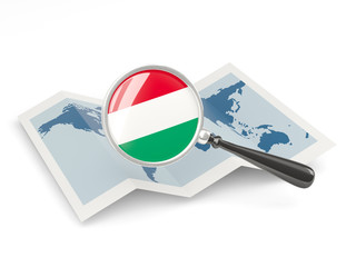 Magnified flag of hungary with map