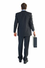 Rear view of businessman holding a briefcase