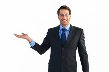Businessman with empty hand open