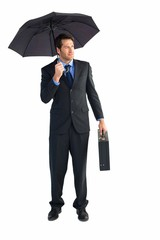 Businessman under umbrella while holding a briefcase