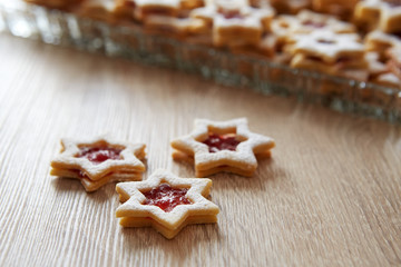 Christmas Linzer cookies on the table