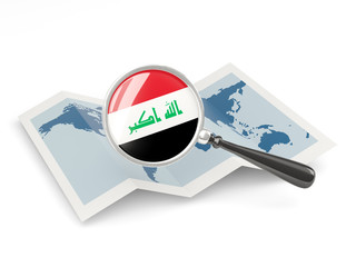 Magnified flag of iraq with map