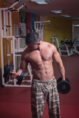 Fit Athlete Exercise With Dumbbells