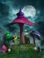 Kolorowe grzyby, lampiony i słoneczniki