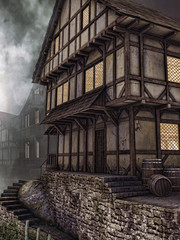 Tawerna na średniowiecznej ulicy