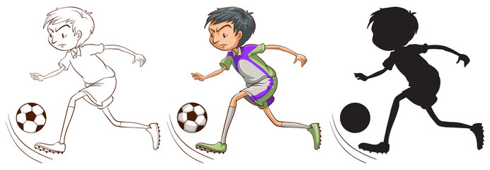 Sketch of a boy playing soccer