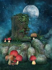 Pień drzewa, skały i kolorowe grzyby nocą