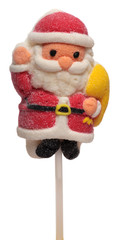 Marshmallow candy on stick, in the form of Santa Claus isolated