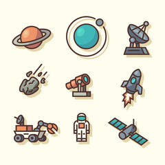 Space icons. Vector illustration.