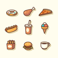 Fast food icons. Vector illustration.
