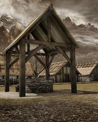 Studnia w średniowiecznej wiosce