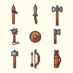 Medieval weapons icons. Vector illustration.
